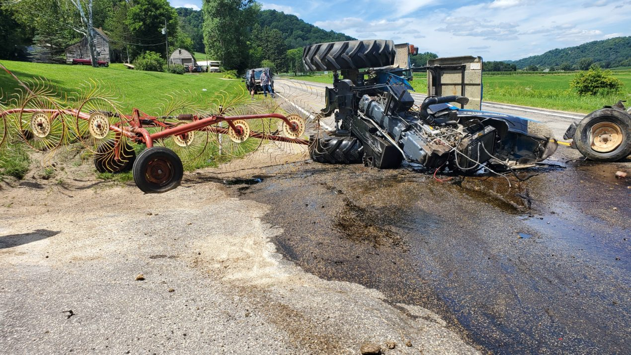 Two hurt in dump truck vs tractor crash near La Farge